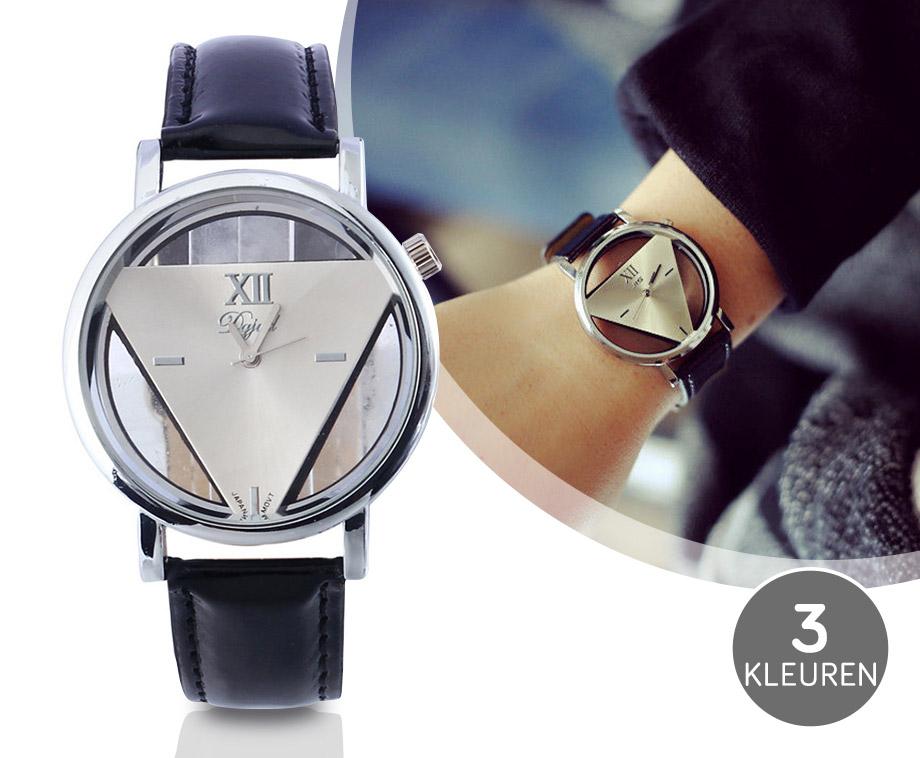 Stijlvol Quartz Driehoek Horloge - Verkrijgbaar In 3 Verschillende Kleuren!