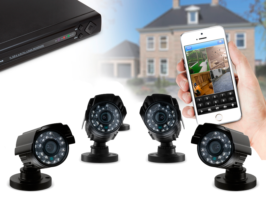 CCTV Video Bewakingssysteem Met 4 Camera's en DVR Met Optionele Harde Schijf - V