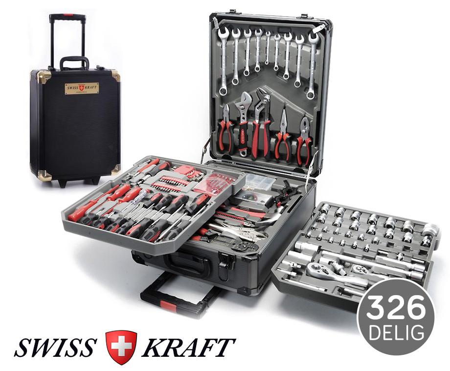 326-Delige Swiss Kraft Gereedschapsstrolley - Vier Inlegtrays Essentieel Gereeds