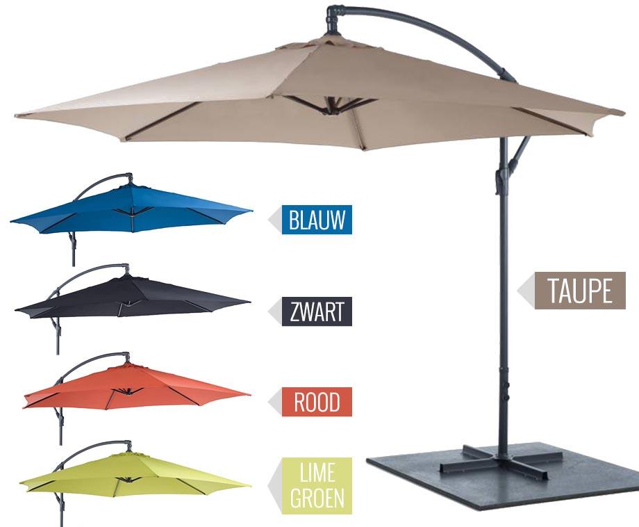 Luxe hangparasol tegen zon regen diameter van 3 meter aanbieding voordeelvanger - Zon parasol ...