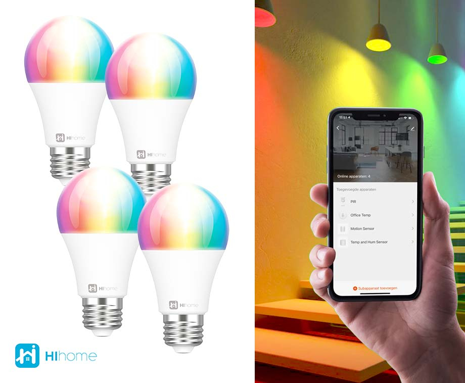 Hihome Smart LED WiFi Lamp - Vandaag 2+2 GRATIS!