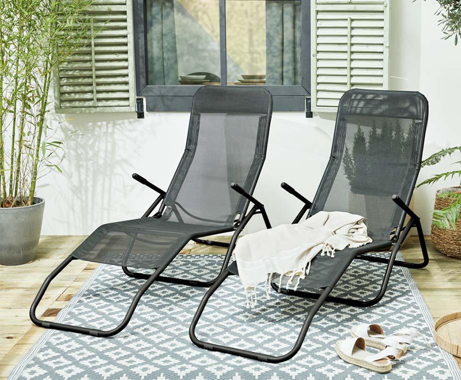 2-Pack Lounger Stoelen - Heerlijk Relaxen In Tuin Of Op Balkon!