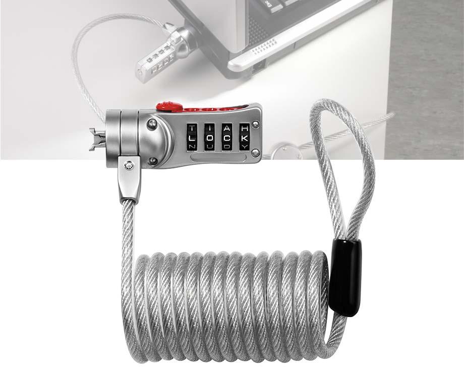 Computer- Laptopslot Met Zelfoprollende Kabel - Met Handige...