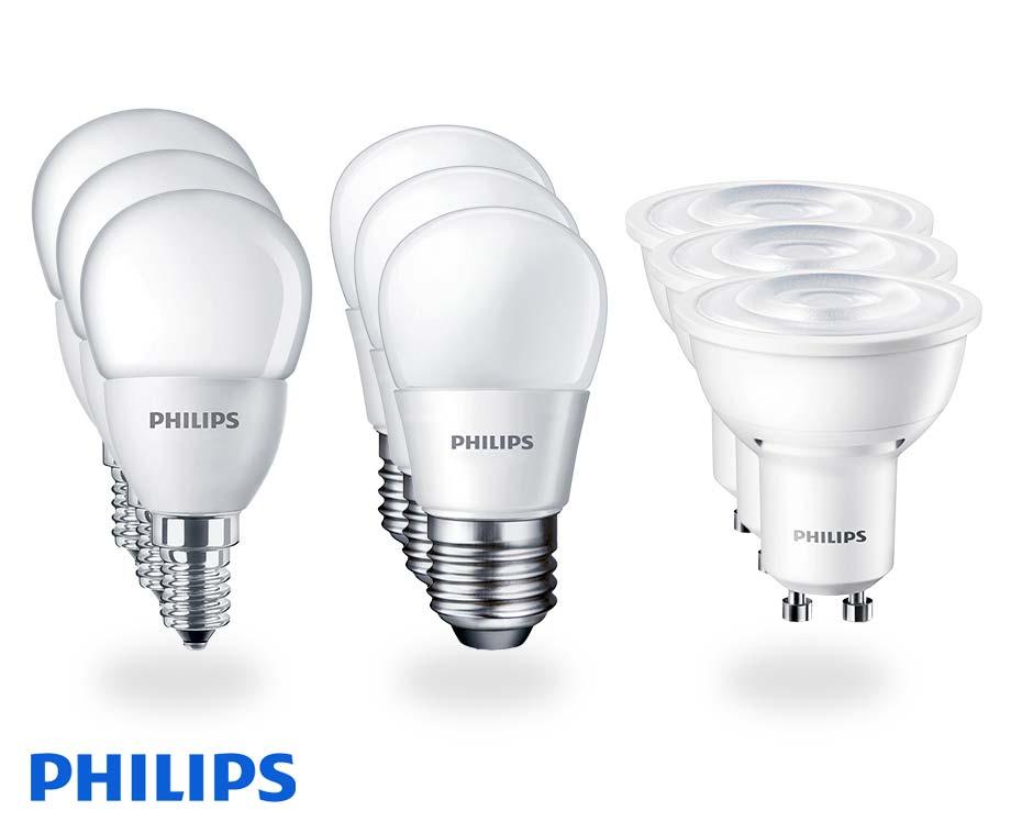 3-Pack Philips LED Lampen - Keuze Uit E14, E27 Of GU10 Fitting!