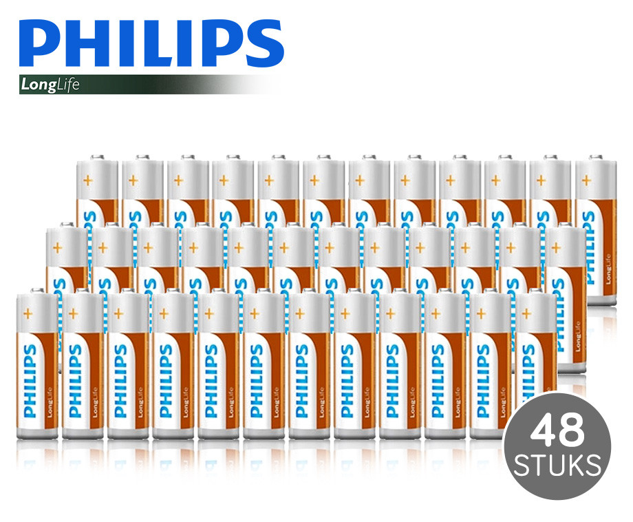 48 AA en/of AAA Philips LongLife Batterijen - Keuze Uit 4 Pakketten!