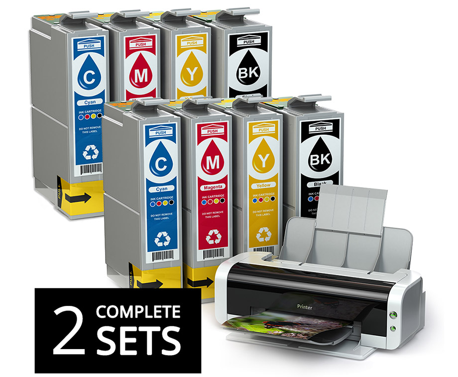 2 sets cartridges voor hp, epson, brother & canon printers!...