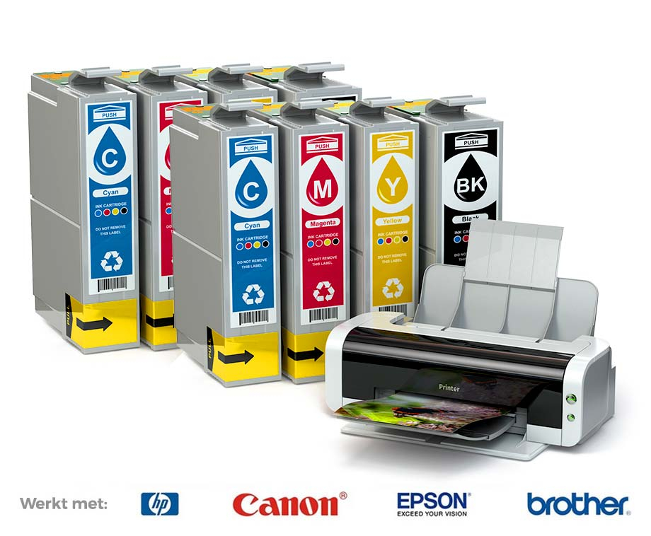 1+1 SET GRATIS: Cartridges Voor HP, Epson, Brother & Canon Printers!
