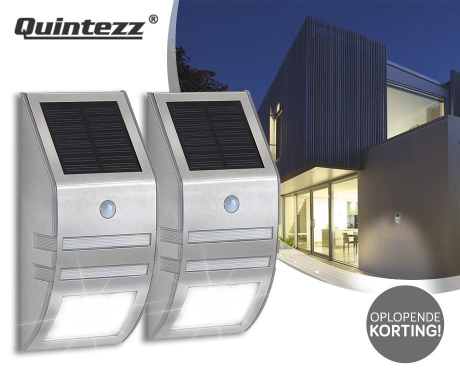 Quintezz Solar LED Motion Buitenlamp - 1, 2 of 4 Stuks Met Oplopende Korting!