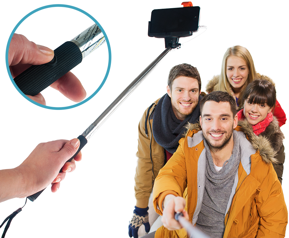plug n play selfie stick van technosmart geschikt voor iphone aanbieding voordeelvanger. Black Bedroom Furniture Sets. Home Design Ideas