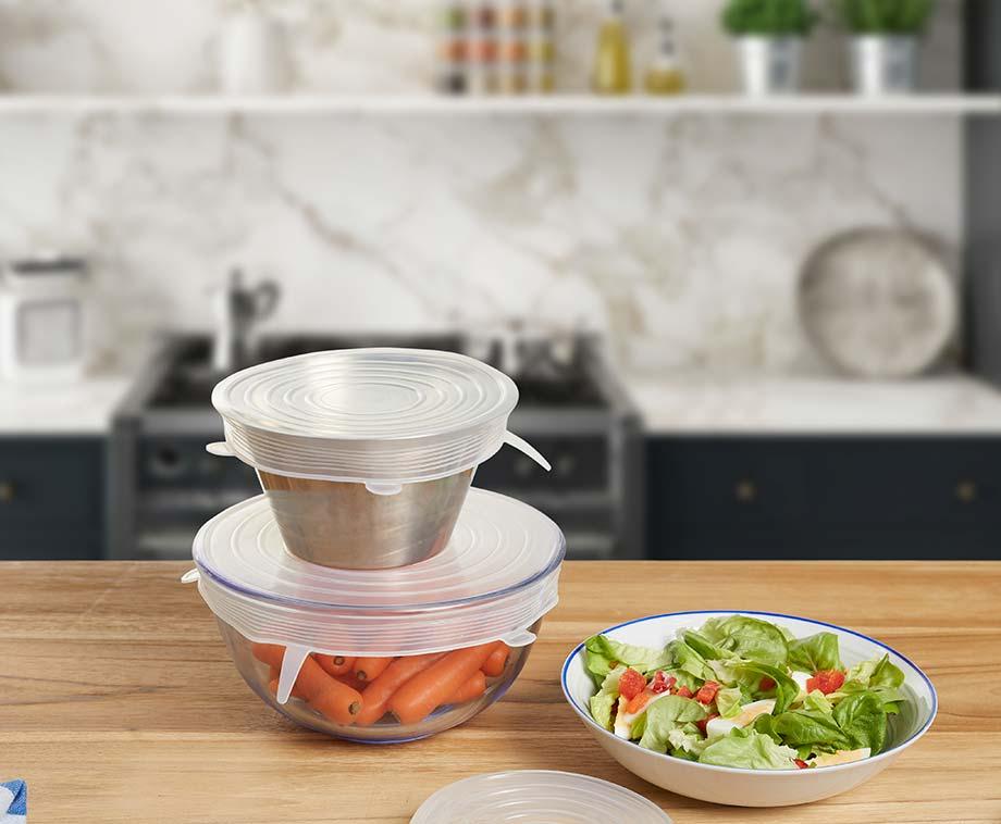 Set Van 12 Siliconen Deksels - Bewaar Voedsel Op Een Duurzame Manier!