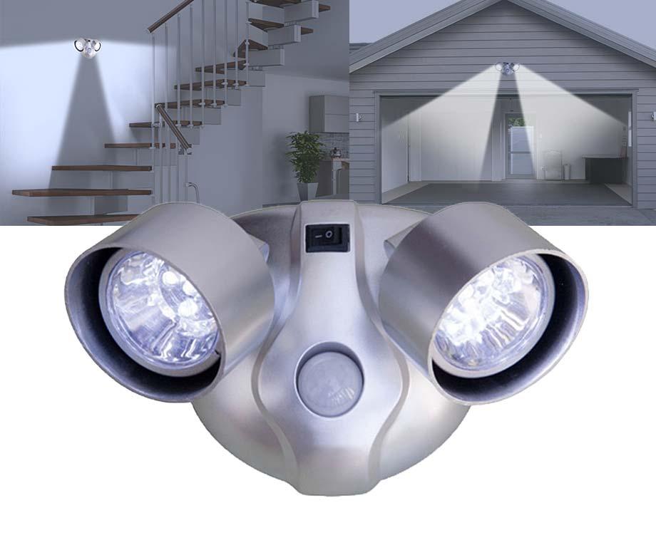 Sensor LED Lamp Met 2 Spotjes - Draadloos En Voorzien Van...