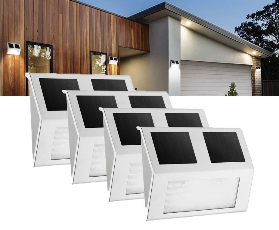 Foto 4-Pack Solar LED Buitenlampen - Met Zonnepaneel & Nachtsensor!