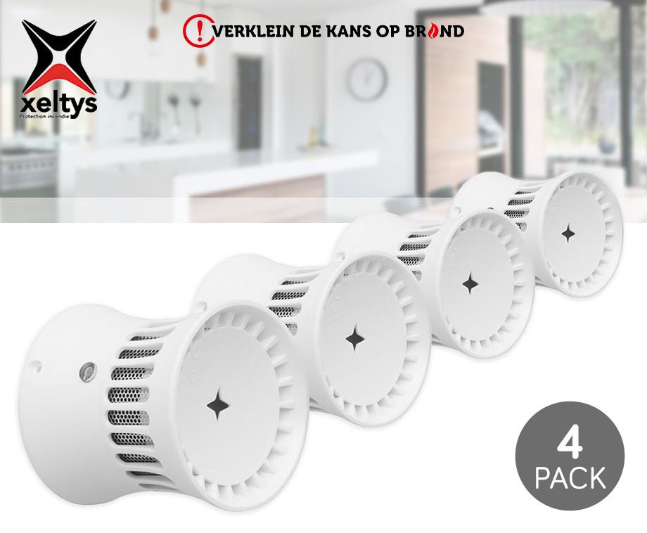 4-Pack Xeltys Rookmelders - Voor Elke Ruimte Een Rookmelder!